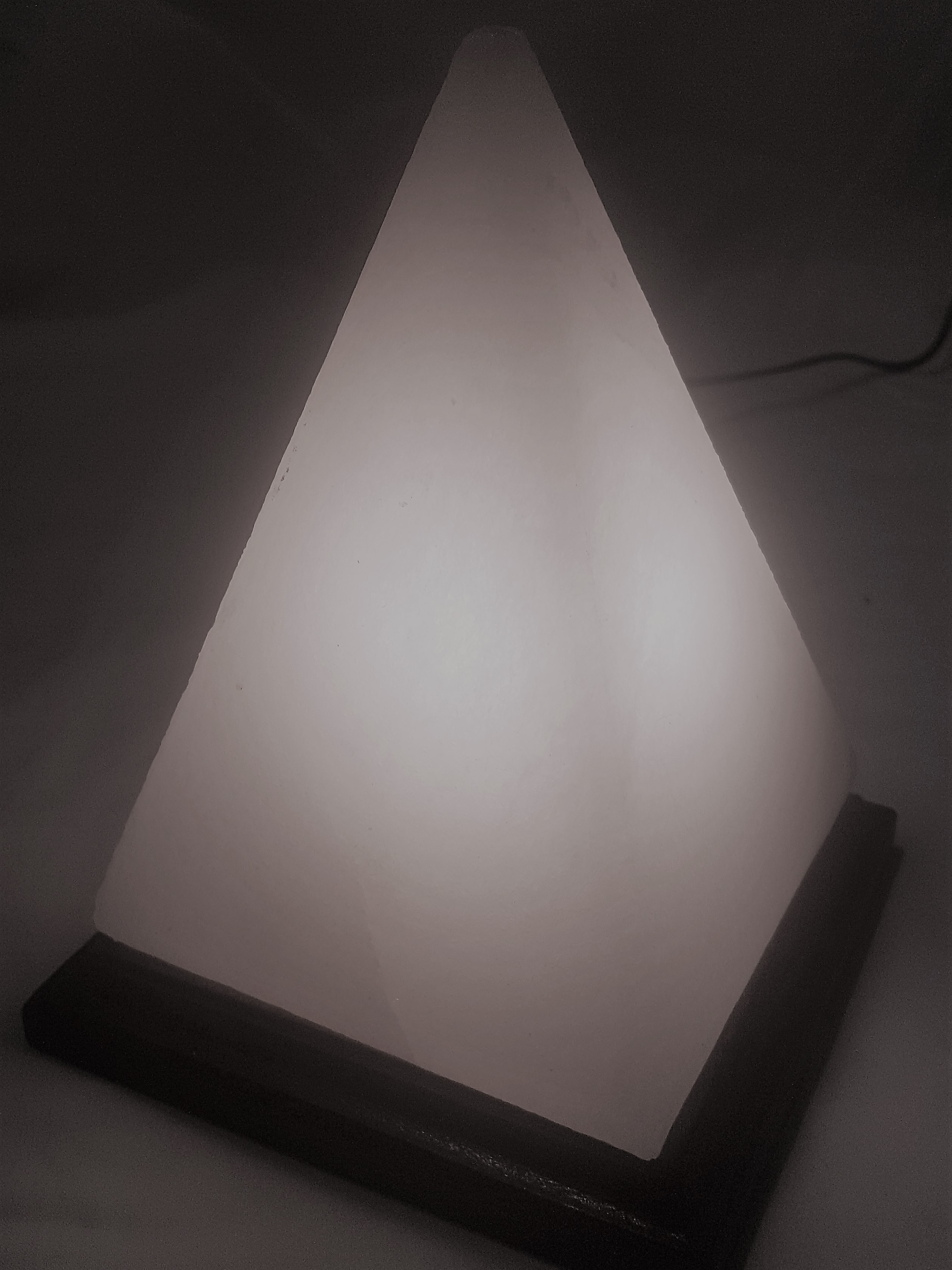 White Salt Pyramid with Wooden base