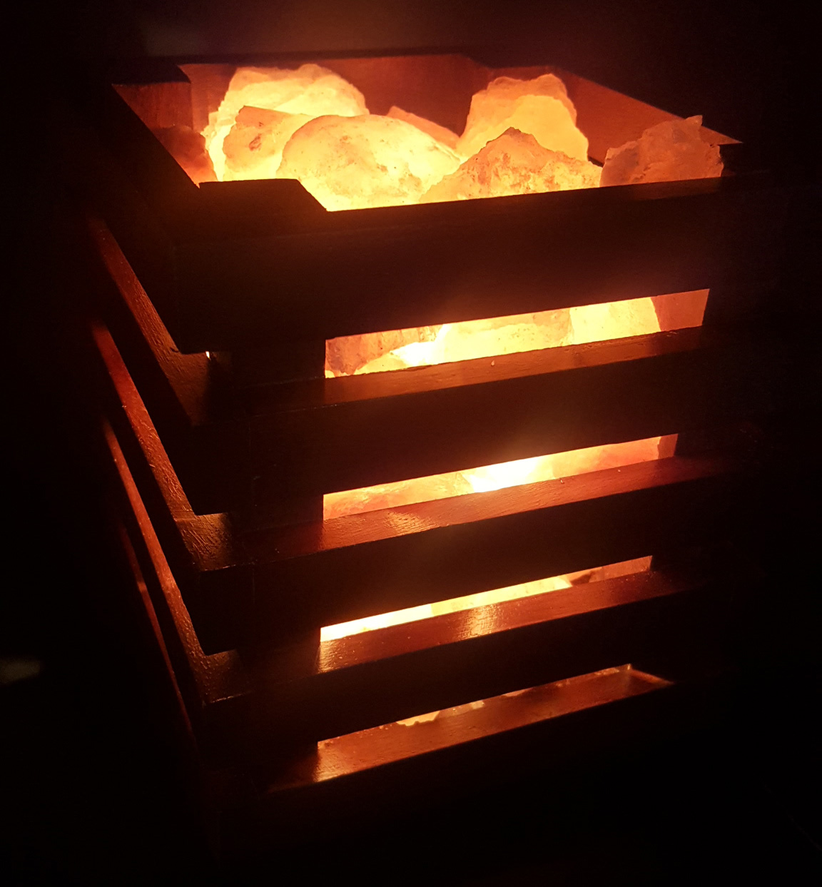 NEW Rosewood Cage Lamp with 3-4kg Himalayan Salt Chunks - Cube